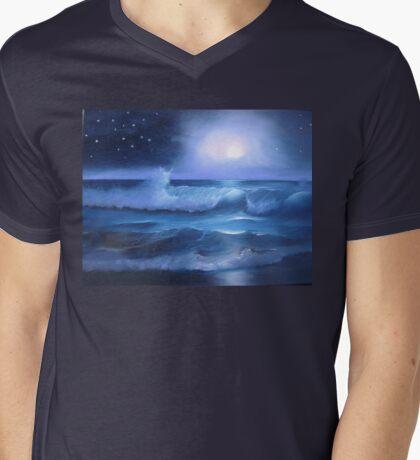 Midnight Moon Glow Mens V-Neck T-Shirt