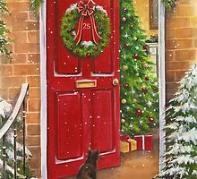 Red front door, decorated for the Holidays. by lizblackdowding