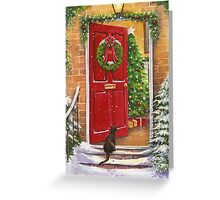 Red front door, decorated for the Holidays. Greeting Card