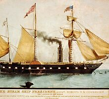 The Steam Ship President vintage painting by Vintage Designs