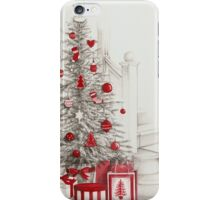 Pencil drawing Christmas tree with red ornaments iPhone Case/Skin