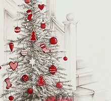 Pencil drawing Christmas tree with red ornaments by lizblackdowding