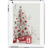 Pencil drawing Christmas tree with red ornaments iPad Case/Skin