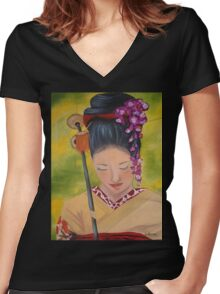 Geisha Doll Women's Fitted V-Neck T-Shirt