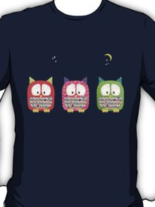 Three Owls Fabric Collage T-Shirt