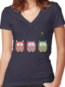 Three Owls Fabric Collage Women's Fitted V-Neck T-Shirt
