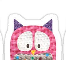 Three Owls Fabric Collage Sticker