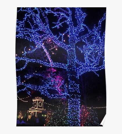 Electric Blue Tree Poster