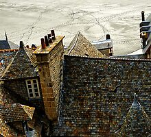 Rooftop view.  Mont St Michel, France by buttonpresser