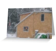 Kitchen Light in Snowstorm Greeting Card