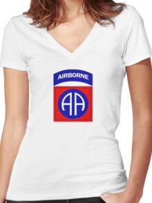 82nd Airborne Women's Fitted V-Neck T-Shirt