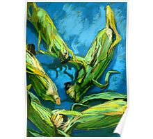 Corns on a Blue Tablecloth Poster