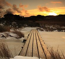 Footbridge over frozen lake. by Fred Taylor