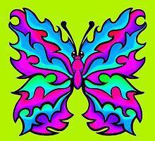 Fire Butterfly Pink and Aqua by Sookiesooker