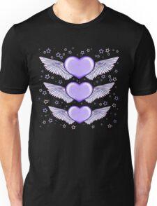 Love Heart Wings Design Lilac Unisex T-Shirt