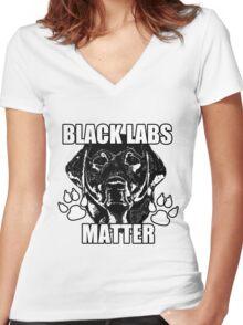 BLACK LABS MATTER 2 Women's Fitted V-Neck T-Shirt