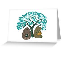 Two Hippos Under The Tree. Greeting Card