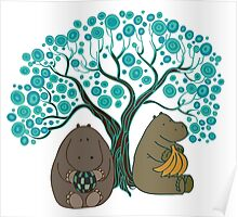 Two Hippos Under The Tree. Poster