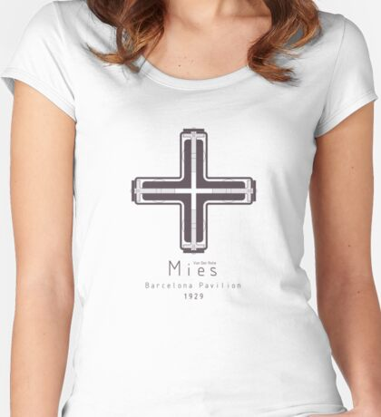 ICONIC ARCHITECTS-MIES VAN DER ROHE Women's Fitted Scoop T-Shirt