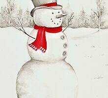 Pencil Snowman by lizblackdowding