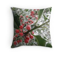 Icy Holly Berries Throw Pillow
