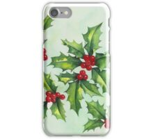 Watercolour holly and berries iPhone Case/Skin
