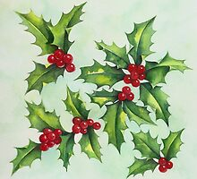 Watercolour holly and berries by lizblackdowding
