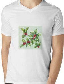 Watercolour holly and berries Mens V-Neck T-Shirt