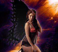 Kneeling Fairy enjoying the sunshine by dijjiartstudios