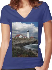 Portland Head Lighthouse Women's Fitted V-Neck T-Shirt