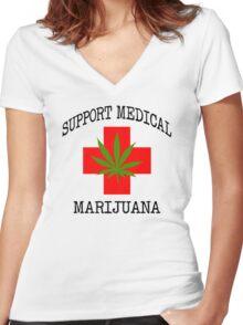 Support Medical Marijuana Women's Fitted V-Neck T-Shirt