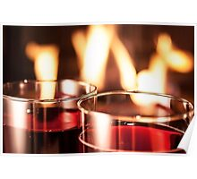 Wine glass fire Poster