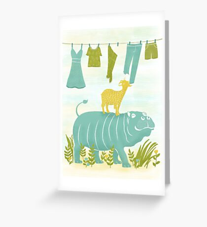 Humphrey the Hippo and the Cameroon Mountain Goat Greeting Card