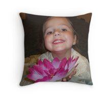 A Pink Flower Offering Throw Pillow