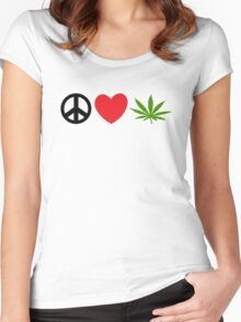 Peace Love Marijuana Women's Fitted Scoop T-Shirt