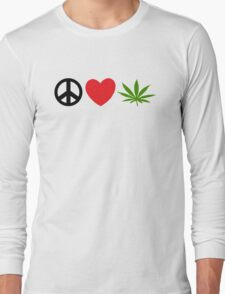 Peace Love Marijuana Long Sleeve T-Shirt