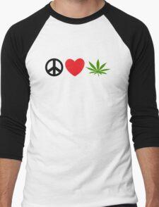 Peace Love Marijuana Men's Baseball ¾ T-Shirt