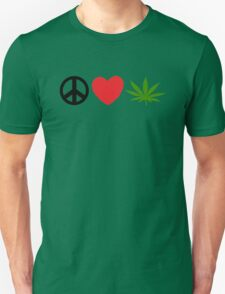 Peace Love Marijuana Unisex T-Shirt