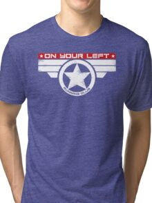 """On Your Left Running Club"" Hybrid Inverted Tri-blend T-Shirt"