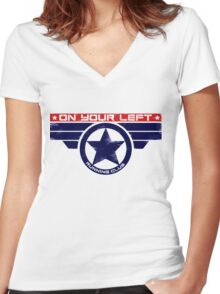 """On Your Left Running Club"" Hybrid Women's Fitted V-Neck T-Shirt"