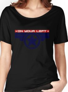 """""""On Your Left Running Club"""" Hybrid Women's Relaxed Fit T-Shirt"""
