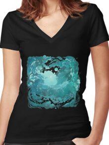 Rainy evening sky Women's Fitted V-Neck T-Shirt