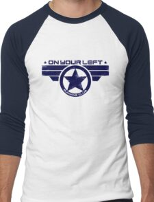 """On Your Left Running Club"" Hybrid Distressed Print 1 Men's Baseball ¾ T-Shirt"