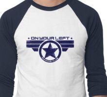 """On Your Left Running Club"" Hybrid Distressed Print 1 Men's Baseball ¾ T-Shirt"