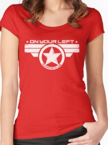 """""""On Your Left Running Club"""" Distressed Print 2 Women's Fitted Scoop T-Shirt"""
