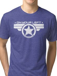 """On Your Left Running Club"" Distressed Print 2 Tri-blend T-Shirt"