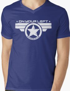 """""""On Your Left Running Club"""" Distressed Print 2 Mens V-Neck T-Shirt"""