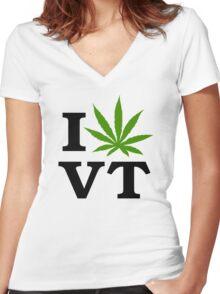 I Marijuana Vermont Women's Fitted V-Neck T-Shirt