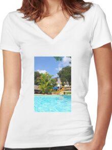 Travellers Club Resort in Mombasa, KENYA Women's Fitted V-Neck T-Shirt