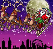 Here comes Santa Claus - London skyline by Richard Bell